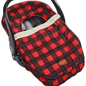 JJ Cole Infant Car Seat Cover Fleece Buffalo Plaid